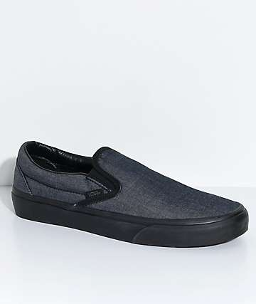 Vans Classic Slip-On Mono Black Chambray Skate Shoes