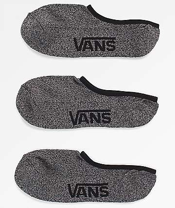 Vans Classic Super 3 Pack No Show Heather Black Socks