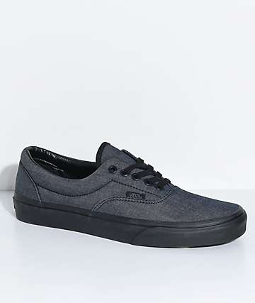 Vans Era Mono Black Chambray & Black Shoes