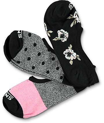 Vans Fall Floral Canoodle 3 Pack Invisible Socks
