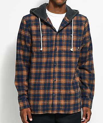 Vans Lopes Blue & Orange Hooded Flannel Shirt