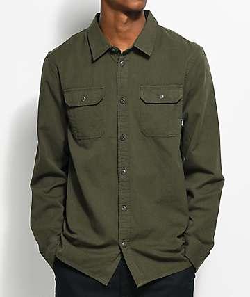 Vans Motz Long Sleeve Green Button Up Shirt
