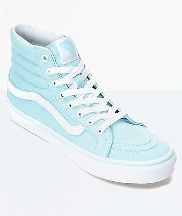 Vans Sk8-Hi Slim Crystal Blue & White Canvas Shoes (Womens)