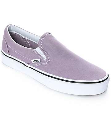 Vans Slip-On Sea Fog & True White Skate Shoes