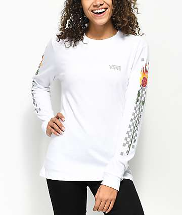 Vans White Checkered Flame Rose Long Sleeve T-Shirt