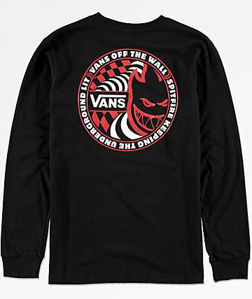 Vans X Spitfire Boys Long Sleeve Black T-Shirt