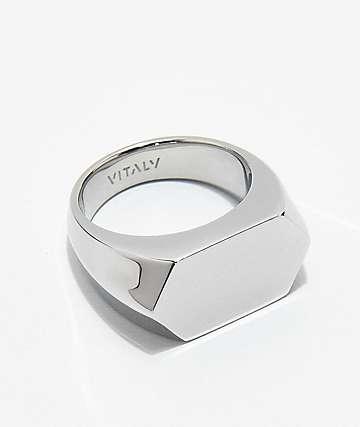 Vitaly Diamond Top Steel Ring