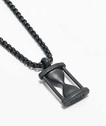 Vitaly Hourglass Pendant Matte Black Necklace