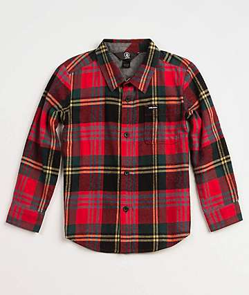 Volcom Boys Caden True Red Flannel Shirt