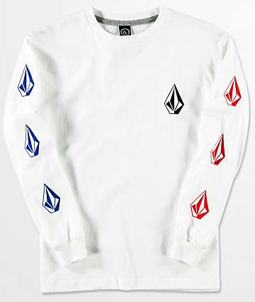 Volcom Boys Deadly Stones White Long Sleeve T-Shirt