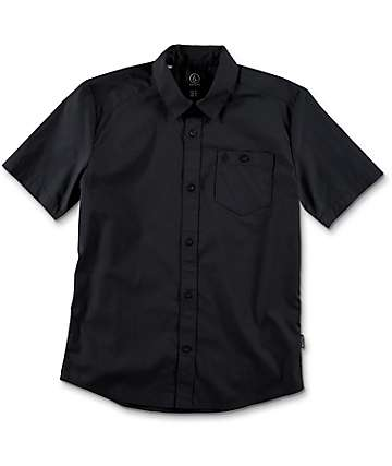 Volcom Boys Everett Solid Black Button Up Shirt