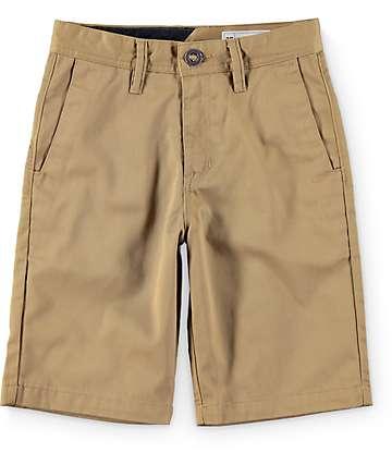 Volcom Boys Frickin Dark Khaki Chino Shorts