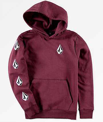 Volcom Boys Supply Stone Burgundy Hoodie