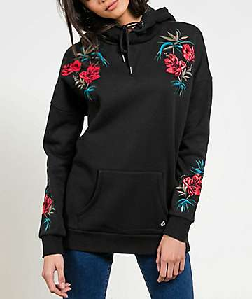 Volcom Burned Down Roses Black Hoodie