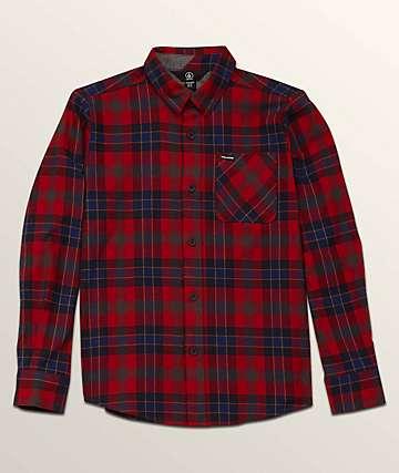 Volcom Caden Blue & Red Flannel Shirt