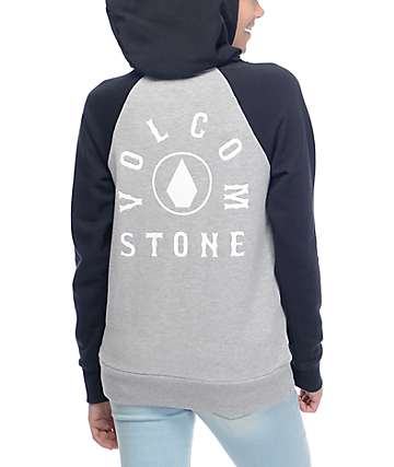Volcom Commin Back Grey & Black Hoodie