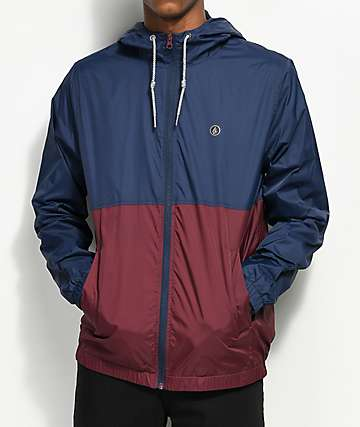 Volcom Ermont Navy & Burgundy Windbreaker Jacket