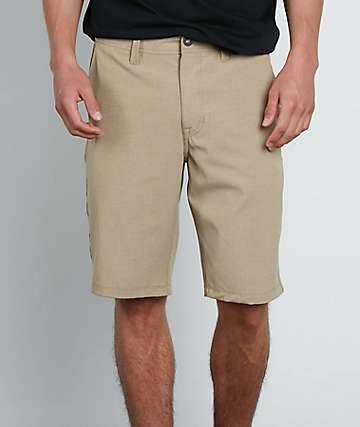 Volcom Frickin Surf N Turf Static Dark Khaki Hybrid Shorts