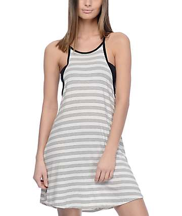 Volcom Lived In Black & White Stripe Tank Dress