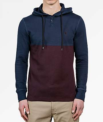 Volcom Murphy Navy & Burgundy Thermal Hooded Shirt