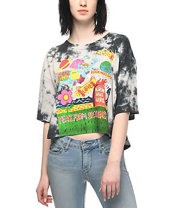 Volcom Ozzie Black Acid Wash Crop T-Shirt