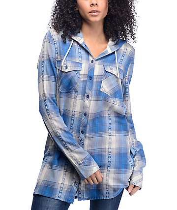 Volcom Salt Fix Electric Blue Plaid Tunic