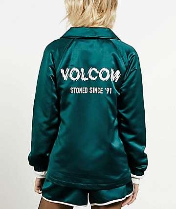 Volcom Team Volcom Midnight Green Satin Coaches Jacket