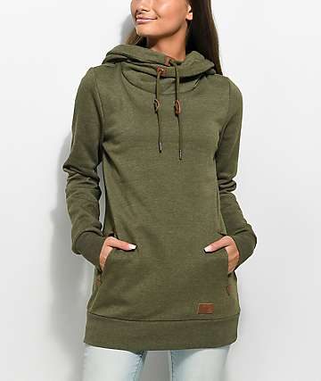 Volcom Walk On By Green High Neck Hoodie