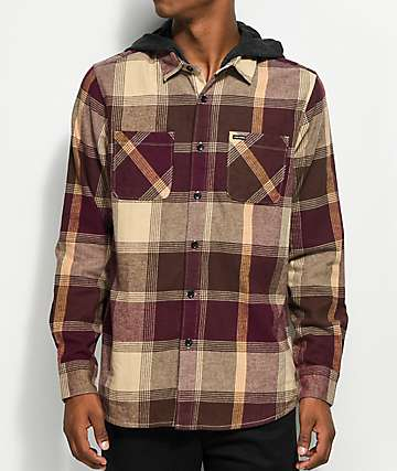 Volcom Wexler Cinnamon & Khaki Hooded Flannel