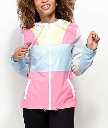 Zine Annora Pink, Blue & White Windbreaker Jacket