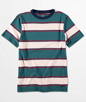 Zine Boys Slouch Teal Multi Stripe T-Shirt