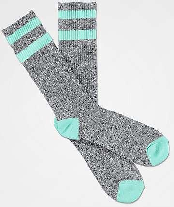 Zine Brawny Heather Grey & Mint Crew Socks