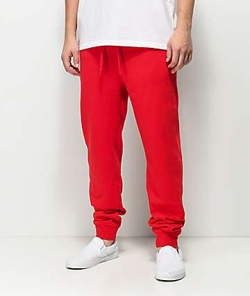 Zine Cap Red Fleece Jogger Pants