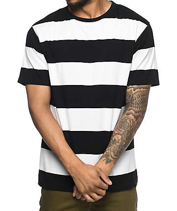 Zine Fitter Stripe White & Black T-Shirt