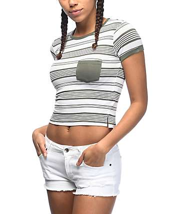 Zine Lambert Olive & Cream Striped Pocket T-Shirt