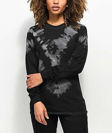 Zine Monroe Placed Black Tie Dye Long Sleeve T-Shirt