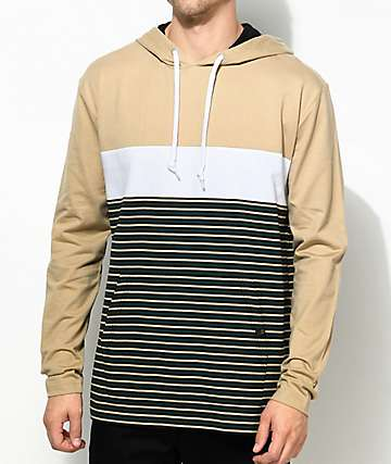 Zine Rafi Khaki, Black & White Striped Hooded T-Shirt