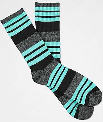 Zine Street Grey, Black & Mint Crew Socks