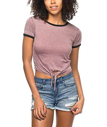 Zine Terrie Rose Knotted Ringer T-Shirt