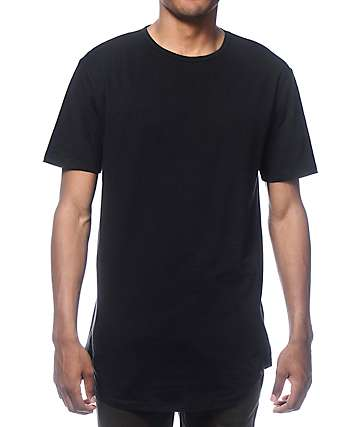 Zine Top Shelf Black Curved Hem Long T-Shirt