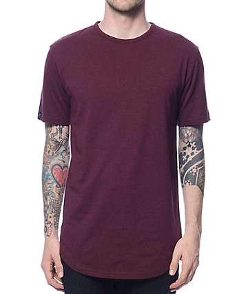 Zine Top Shelf Heather Burgundy Curved Hem Long T-Shirt