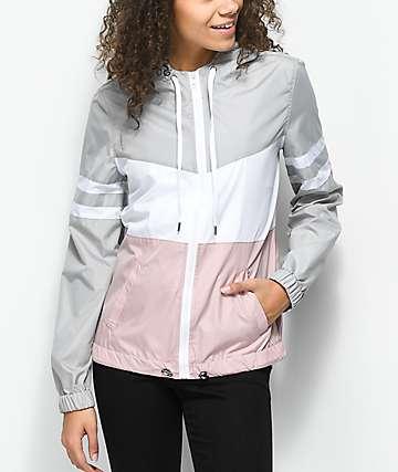 Zine Zuri Mauve, Grey & White Color Blocked Windbreaker Jacket