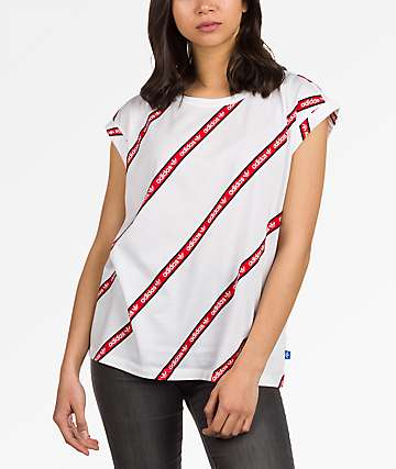 adidas Boyfriend Roll Up White & Red T-Shirt