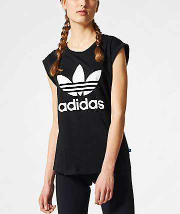 adidas Boyfriend Trefoil Roll Up Black T-Shirt