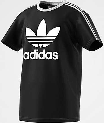 adidas Boys 3 Stripe Black T-Shirt