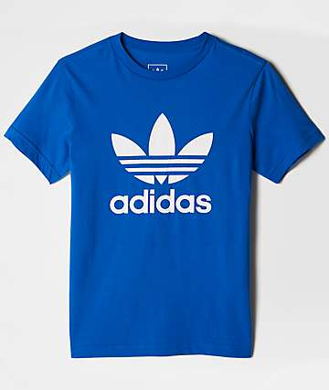 adidas Boys J Trefoil White & Blue T-Shirt
