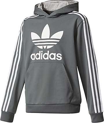 adidas Boys Trefoil Grey & White Hoodie