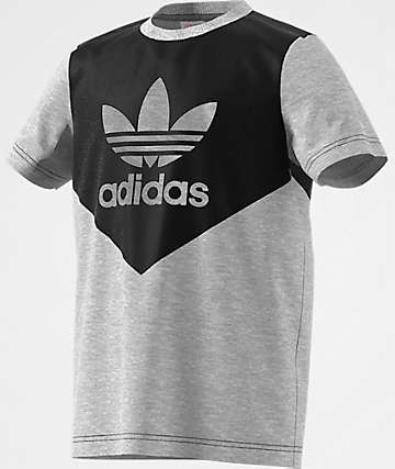adidas J Graphic Heather Grey & Black T-Shirt