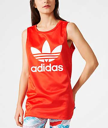 adidas Loose Trefoil Red Tank Top