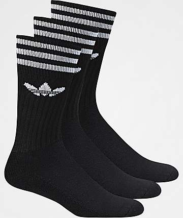 adidas Solid 3 Pack Crew Socks
